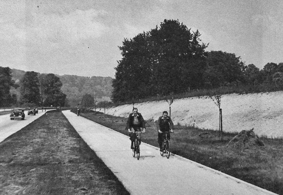 Cyclists on the A24 bike path, the 1930s arterial road north of Dorking