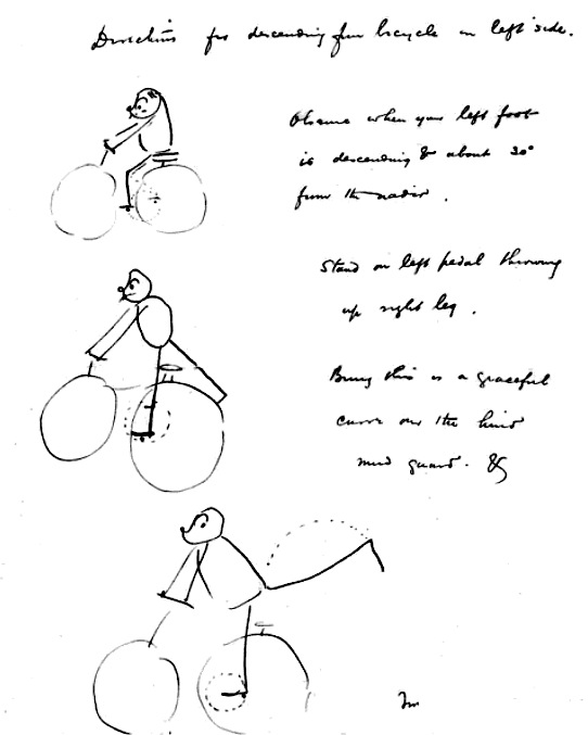 """Observe when your left foot is descending & about 30° from the nadir. Stand on left pedal throwing up right leg. Bring this in a graceful curve over the hind mud guard & leap lightly to the ground…The treadle moves against your weight & assists the leap. Then smile. Thus...The method for the right side is right for left the same."""