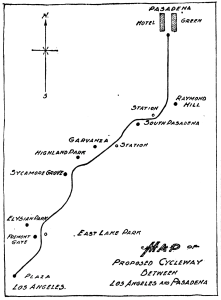 Map of California Cycleway Los Angeles Herald 1898